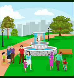 Happy family in park with fountain boys and girls vector