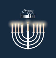 Happy hanukkah hanukkah candles flat design vector