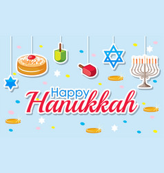 Happy hanukkah poster design with desserts and vector