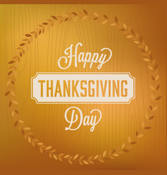 happy thanks giving day headline and circle frame vector image