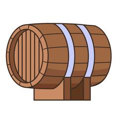 horizontal wooden barrel icon cartoon style vector image