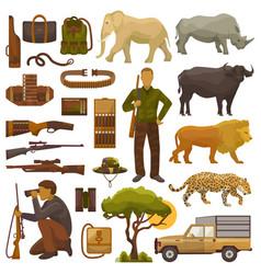 hunt safari hunterman character in africa vector image