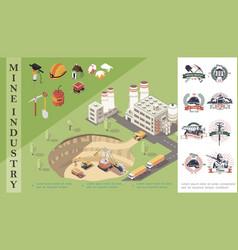 Isometric mining concept vector