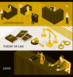 Law isometric banners set vector