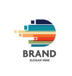 letter d logo colorful strips vector image
