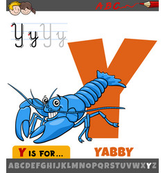 Letter y from alphabet with cartoon yabby animal vector