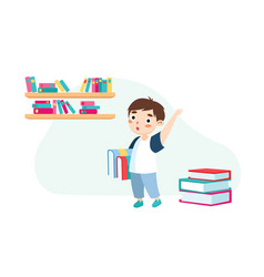 little boy with books and backpack stand vector image