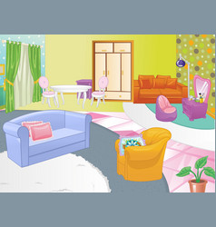 Living room design cozy home interior flat style vector