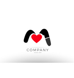 M alphabet letter logo icon with love heart vector