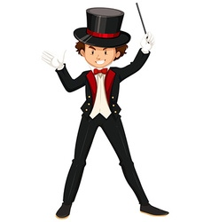 Male magician in black suit vector