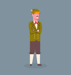 Man wearing traditional german clothes oktoberfest vector