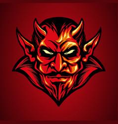 mascot logo red devil head in hand drawn vector image