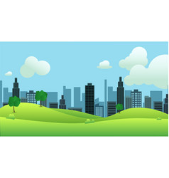 meadow landscape with city on background vector image