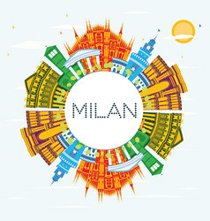 Milan italy city skyline with color buildings vector