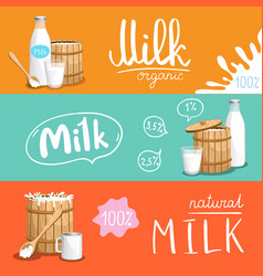 milk products horizontal flyer set vector image