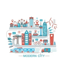 Modern Modern smart city graphic flat line design vector