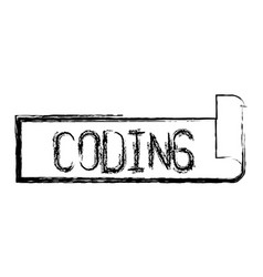 Monochrome blurred silhouette label text of coding vector