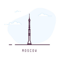 moscow ostankino tower vector image