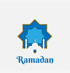 mosque ramadan theme paper cut art vector image
