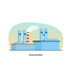multi-storey building of chemical plant vector image