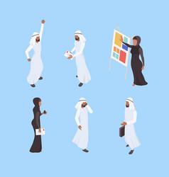 muslim isometric business arabic characters vector image