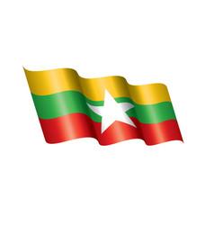 Myanmar flag on a white vector