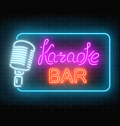 Neon signboard of karaoke music bar glowing vector