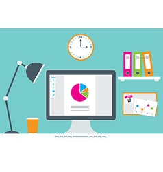Office Environment with computer and stationery vector image