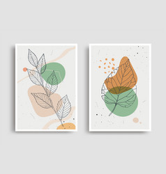 Organic shape leaves design for wall decoration vector