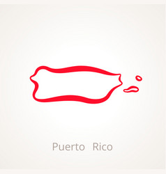 Outline map of puerto rico marked with red line vector