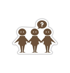 Paper sticker on white background people vector