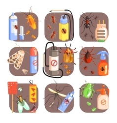 Pests And Measures For Their Extermination Set vector
