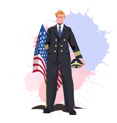 pilot in uniform holding usa flag happy labor day vector image