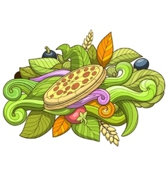 Pizza hand drawn ornament design vector