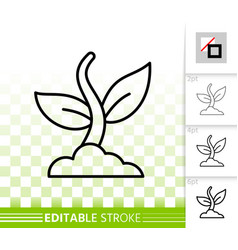 plant simple black line icon vector image