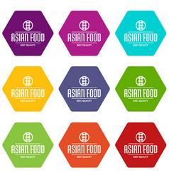 Quality asian food icons set 9 vector