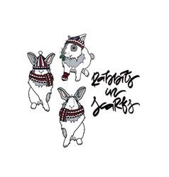 rabbits in scarfs vector image