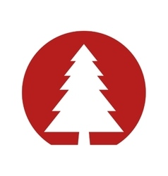 red circle shape with pine tree vector image