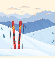 Red ski equipment at ski resort vector