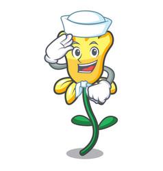 sailor daffodil flower character cartoon vector image