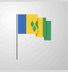 Saint vincent and grenadines waving flag creative vector