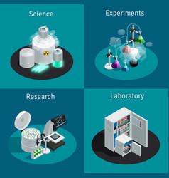 Scientific laboratory 2x2 isometric design concept vector
