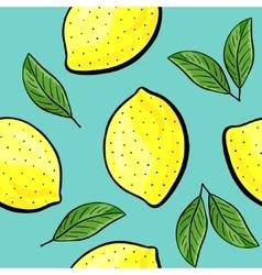 Seamless hand drawn lemon pattern vector