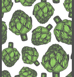 Seamless pattern with artichoke sketch style vector