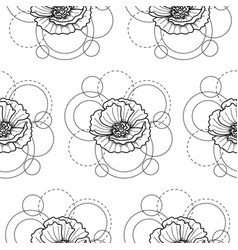 Seamless pattern with poppy and circles on white vector