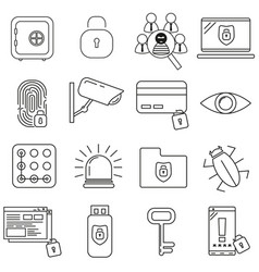 security icons on white background set vector image