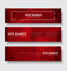 set of horizontal web banners with abstract red vector image