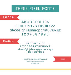 set pixel fonts - alphabet and numbers vector image