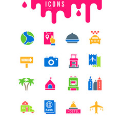 set simple icons travel vector image