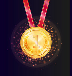 Shiny honorable gold medal for first place win vector